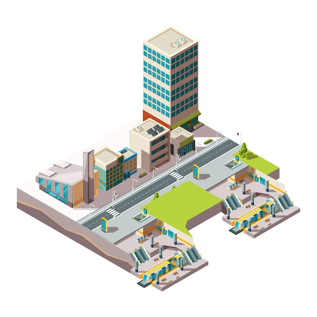 Городское метро. городская ландшафтная инфраструктура со зданиями и поперечным сечением железнодорожного метро низкополигональная изометрическая Premium векторы