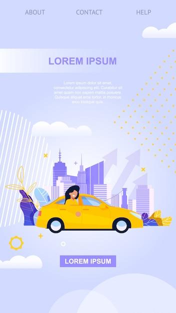 City taxi mobile app. yellow car flat illustration Premium Vector