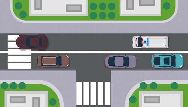 City top view building map landscape. road with car, tree, roof, grass. Premium Vector