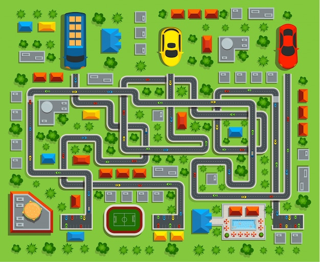 Of the city top view. child game maze.vector illustration. Premium Vector