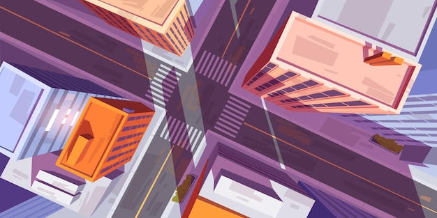 City top view with buildings and car road intersection with pedestrian crosswalk. Free Vector