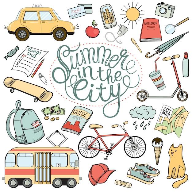 City tourist necessities, set of colorful hand drawn doodles Premium Vector