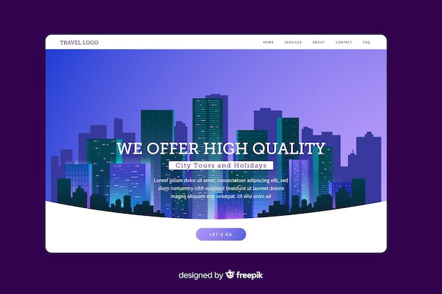 City tours landing page template Free Vector