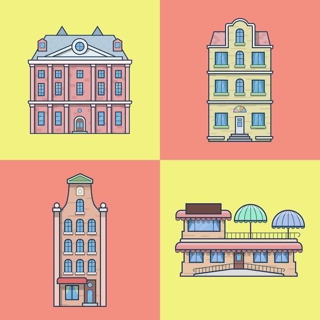 도시 타운 하우스 호텔 카페 레스토랑 테라스 건축 건물 세트. 선형 스트로크 개요 아이콘. 무료 벡터