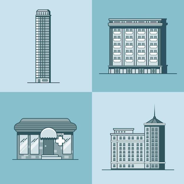 도시 마을 마천루 호텔 집 약국 약국 건축 건물 세트 프리미엄 벡터