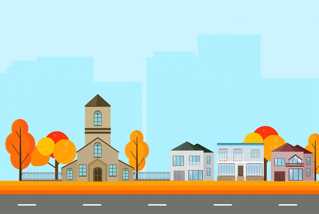 City town street view, buildings in autumn season. vector ...