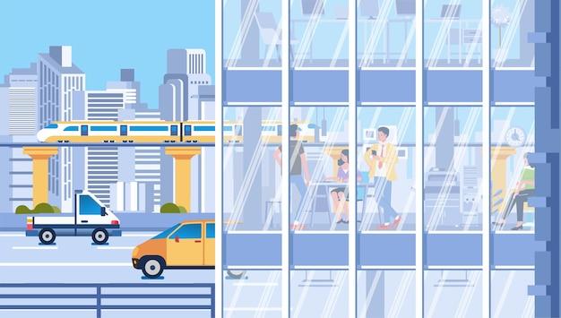 ガラス窓、街並み、建物を背景にした建物内の都市交通と人々の活動 Premiumベクター