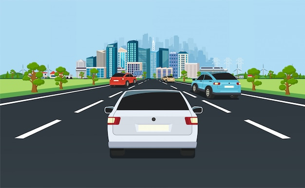 City traffic on highway with panoramic views of the modern city with skyscrapers and suburbs on background mountains, hills. road with cars leading to the city. Premium Vector