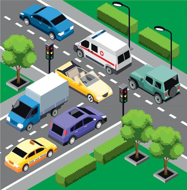 都市交通等尺性概念 無料ベクター
