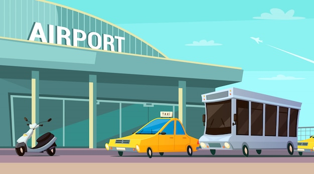 City transport cartoon composition with airport terminal Free Vector