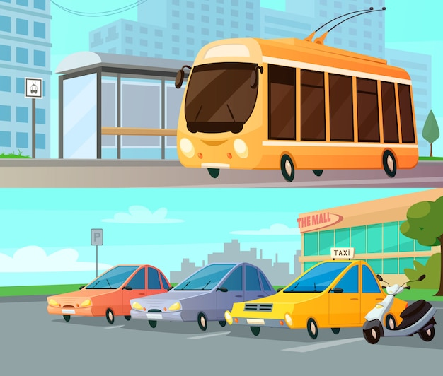 City transport cartoon compositions with trolley at street stop and mall parking with taxi cars Free Vector