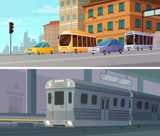 City transport cartoon horizontal banners set of subway station with train Free Vector