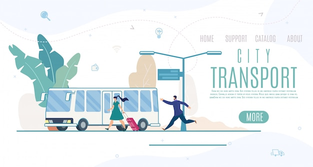City transport company, service website template or landing page Premium Vector