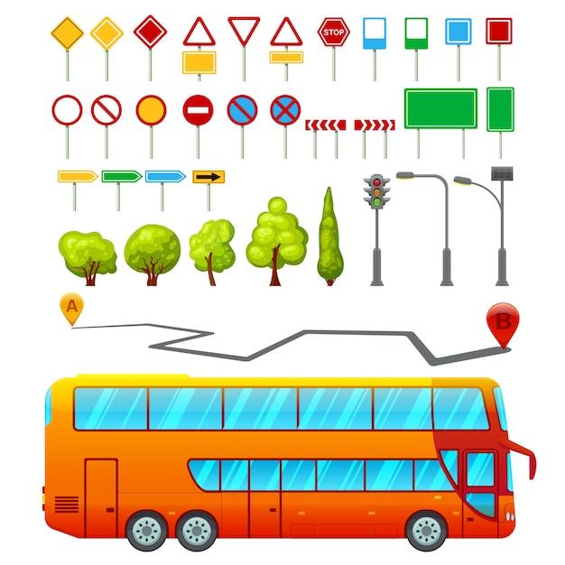 도시 교통 요소 집합 무료 벡터
