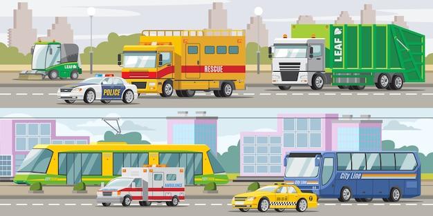 都市輸送の水平方向のバナー 無料ベクター
