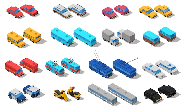 City transport isometric icons set Free Vector