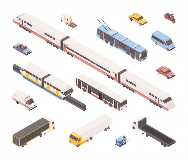 City transport isometric set Premium Vector