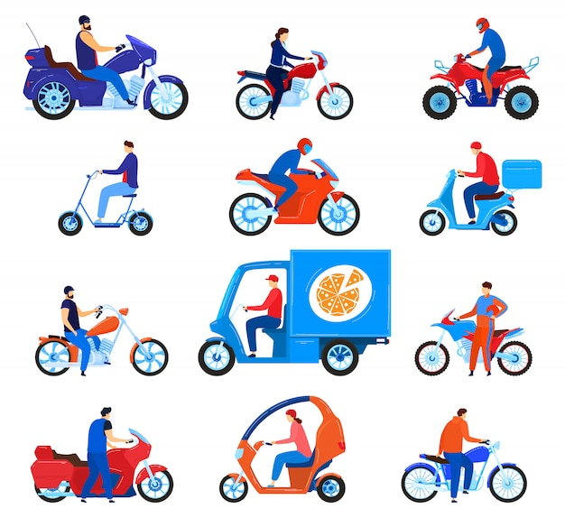 City transport motorbikes vector illustration set. Premium Vector