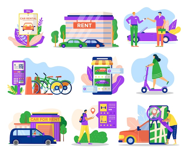 City transport rental service icons set of  illustrations. rent vehicle transportation car, bicycle,