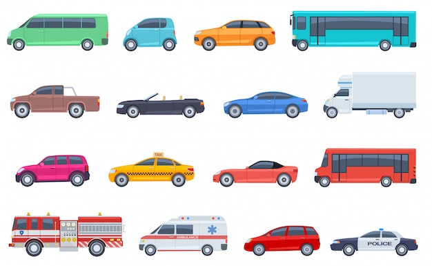 City transport set. police car ambulance fire engine bus taxi cabriolet suv pickup vector flat isolated urban transportation Premium Vector