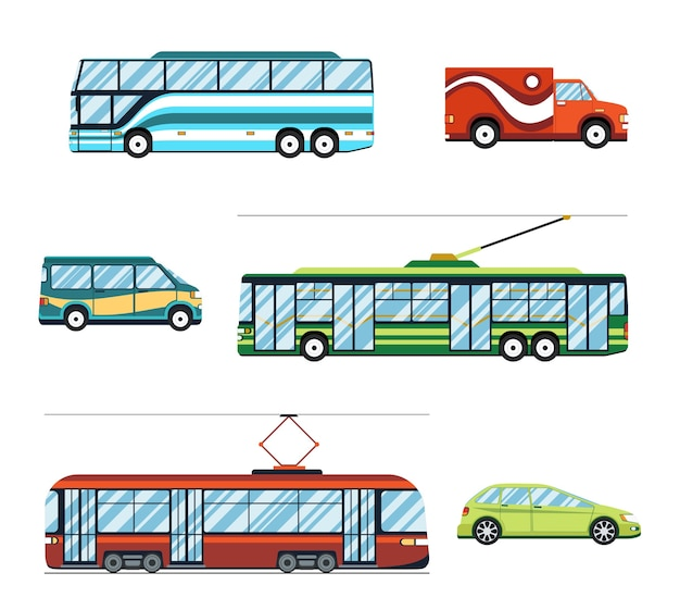 City transport set. trolley and bus, tram and car Free Vector