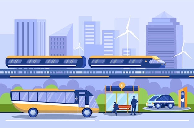 City transportation  . different public transport. subway, metro. bus platform, charging station. electrocar, electric automobile. eco vehicles. urban ecology Premium Vector