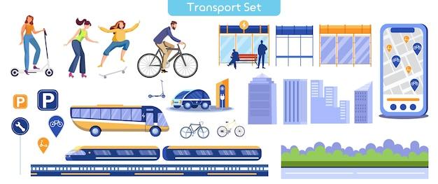 City transportation flat illustration. different public transport Premium Vector