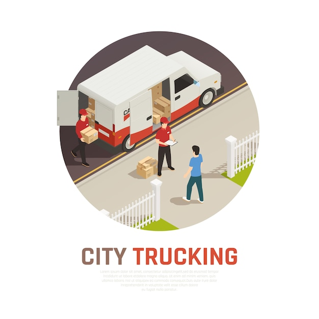 City trucking isometric round composition with cargo delivery by mini bus Free Vector