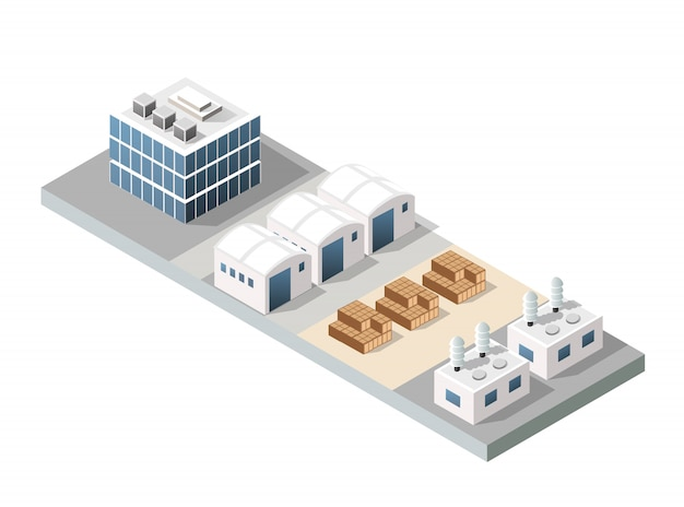 City urban factory Premium Vector