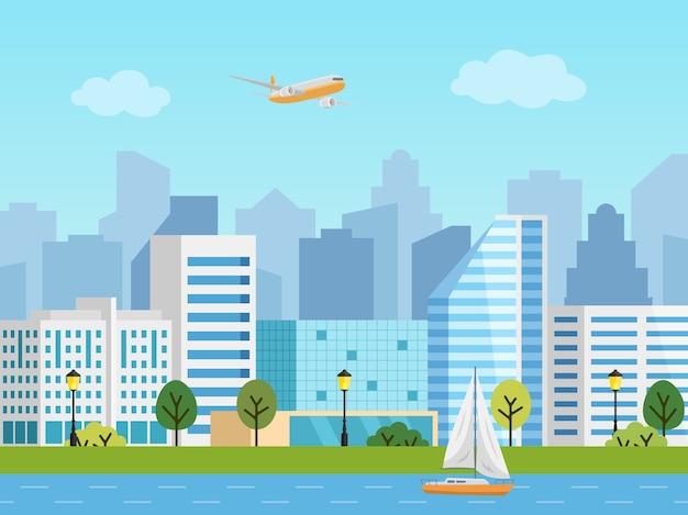 Городской городской пейзаж. панорама зданий перед небоскребами. самолет в небе, лодка на реке. Premium векторы