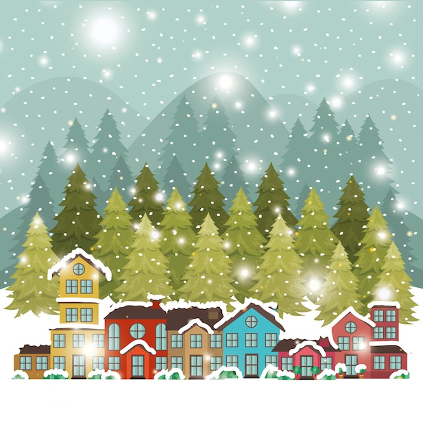 City urban in snowscape scene Free Vector
