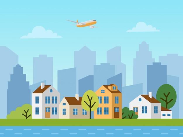 도시 도시 벡터 풍경, 별장 및 고층 빌딩 프리미엄 벡터