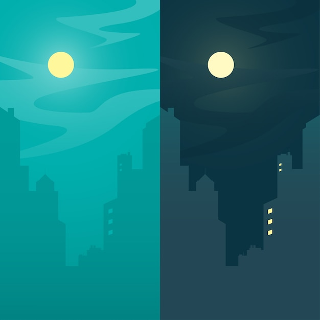 City view, day and night town background concept, vector illustration. Premium Vector