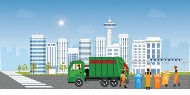 City waste recycling concept with garbage truck and garbage collector on city Premium Vector
