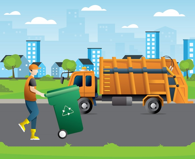 City waste recycling concept with garbage truck and garbage collector Premium Vector