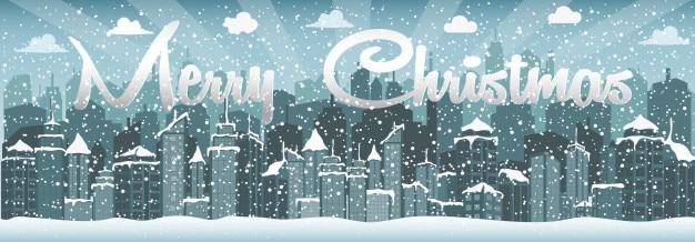 City in winter (christmas) Premium Vector