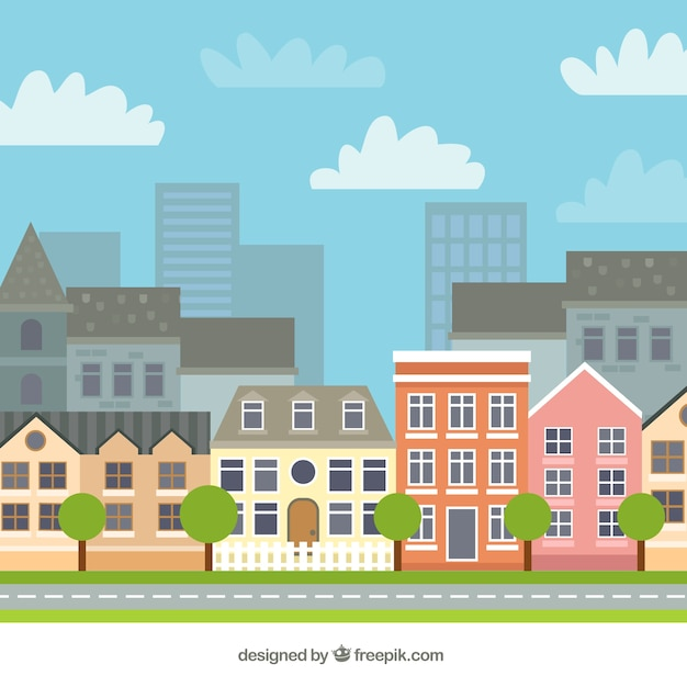City with beautiful houses background Vector | Free Download