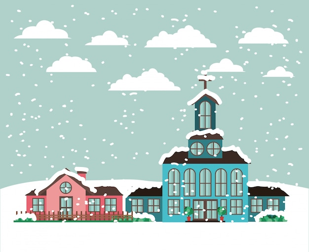 City with church in snowscape Free Vector