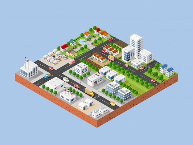City with houses Premium Vector