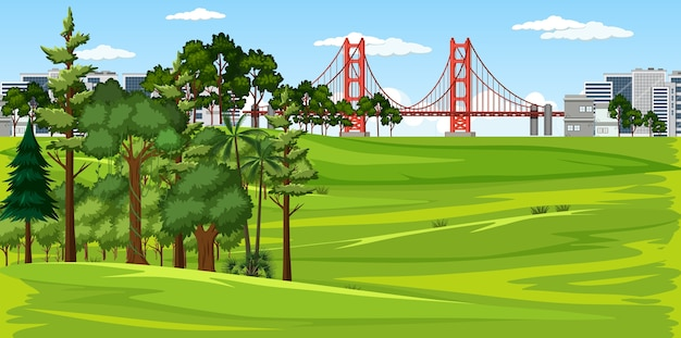 City with nature park landscape scene Free Vector