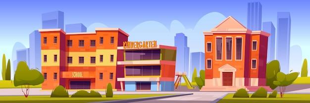 City with school, kindergarten and university Free Vector