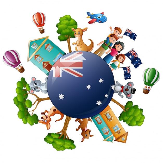 City with world concept on australia day Premium Vector