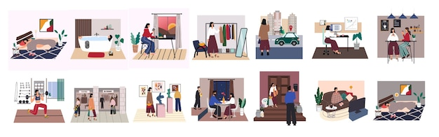 City woman everyday life set. young girl sleep, go bath, have breakfast, work, meet friends, go to gym, shopping, exhibitions, romantic date and relax at home. everyday routine. Premium Vector