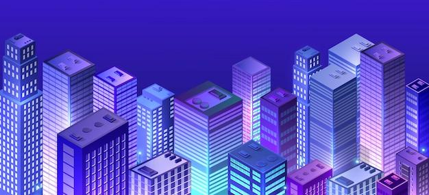 Cityscape 3d ultraviolet Premium Vector