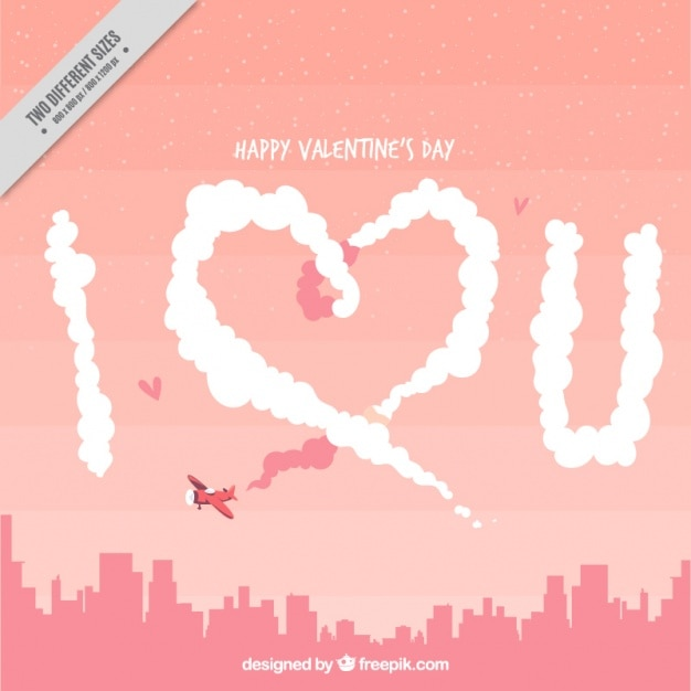 Cityscape background with small plane and love\ message