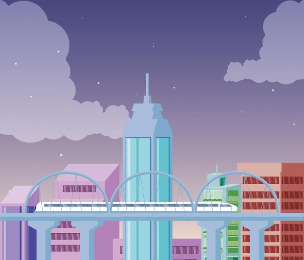 Cityscape buildings scene night with bridge Premium Vector