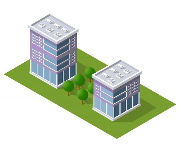 Cityscape design elements with isometric building Premium Vector