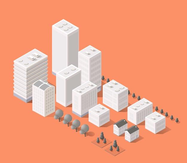 Cityscape  elements with isometric building Premium Vector