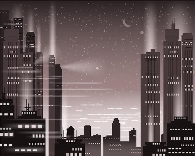 Городской пейзаж мегаполиса ночные огни большого города, освещенные неоном, небоскребы, центр города, горизонт Premium векторы