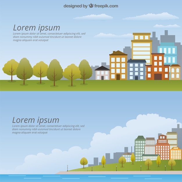 Cityscape Template Pack Free Vector